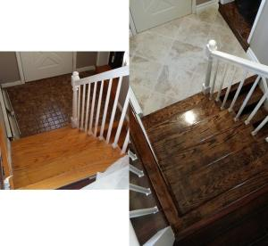 The stairs/foyer before and after. The front door has since been replaced.