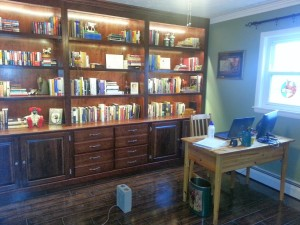 This bookshelf = an English major's dream! He's building me a writing desk to match.
