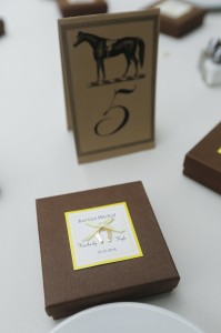 """Their favors - horseshoe shaped soaps in a cute box that read, """"Just Got Hitched!"""""""